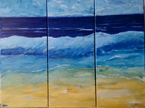 Brigitte Raz-Goldau, Ferienerinnerungen 1 - 3 Nr.3, Landscapes: Sea/Ocean, Nature: Water, Contemporary Art