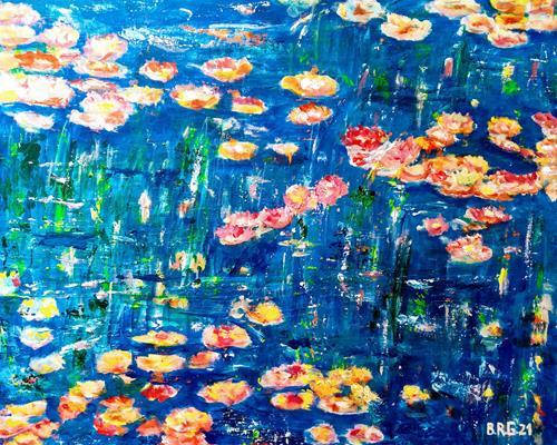 Brigitte Raz-Goldau, Wildrosenteich, Fantasy, Plants, Abstract Art