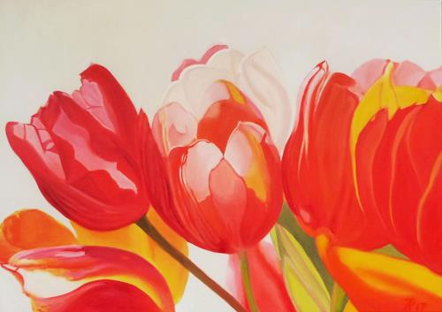 Anne Petschuch, Tulpen 04, Plants: Flowers, Plants, Realism, Expressionism