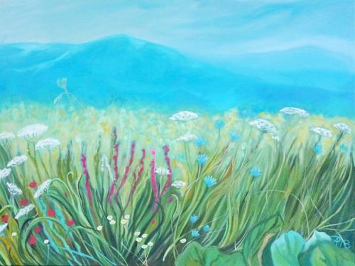 Anne Petschuch, Blumenwiese, Landscapes: Mountains, Plants: Flowers, Neo-Impressionism