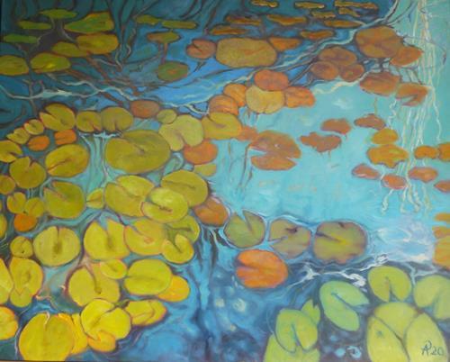 Anne Petschuch, Seerosen XII, Plants, Nature: Water, Impressionism