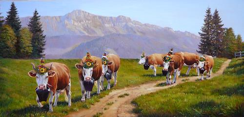 Antonio Molina, Alpabfahrt, Landscapes: Mountains, Animals: Land, Naturalism, Expressionism