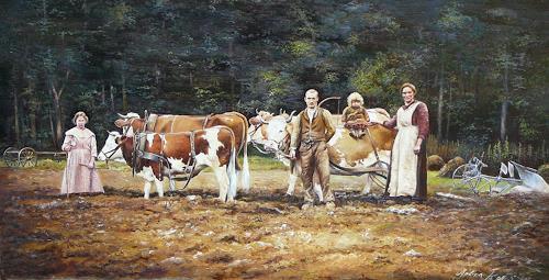 Antonio Molina, Bauernfamilie mit Rinder Gespann, The world of work, Society, Naturalism