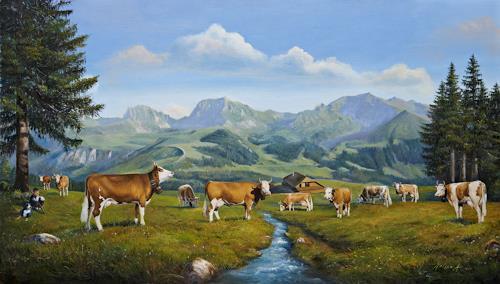 Antonio Molina, Alp mit Gantrisch, Landscapes: Mountains, Animals: Land, Expressionism