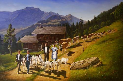 Antonio Molina, Alpabzug bei Wilderswil, Landscapes: Autumn, Landscapes: Autumn, Naturalism
