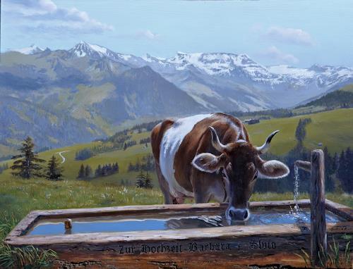 Antonio Molina, Gurtkuh an der Tränke, Landscapes: Summer, Landscapes: Mountains, Expressionism