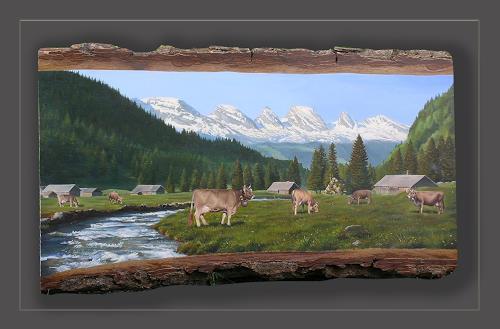 Antonio Molina, ÄLPLI IM TOGGENBURG, Landscapes: Mountains, Animals: Land