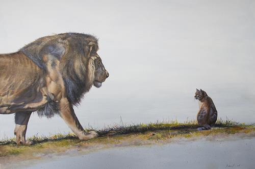 Antonio Molina, Die Begegnung zweier Katzen, Animals: Land, Burlesque, Expressionism