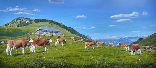 Antonio Molina, Ankunft auf der Mattenalp, Landscapes: Mountains, Animals: Land, Abstract Art, Expressionism