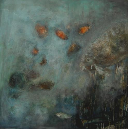 silvia messerli, deep silence, Mythology, Animals: Water, Expressive Realism, Abstract Expressionism