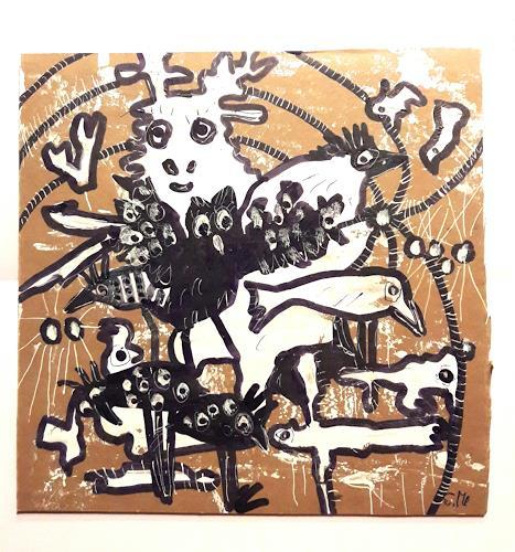 silvia messerli, Winterzauber, Animals: Land, Times: Winter, Art Brut, Abstract Expressionism