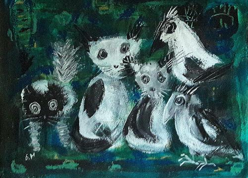 silvia messerli, robe in black and white, Fantasy, Miscellaneous Animals, Art Brut, Abstract Expressionism