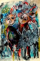 silvia-messerli-People-Couples-Animals-Land-Modern-Age-Abstract-Art-Art-Brut