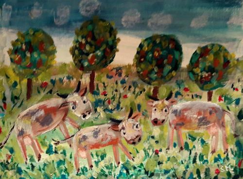 silvia messerli, Kühe in der Hostet, Animals: Land, Landscapes: Spring, Art Brut, Expressionism