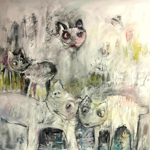 silvia messerli, i gatti, Animals: Land, Nature: Earth, Contemporary Art, Abstract Expressionism