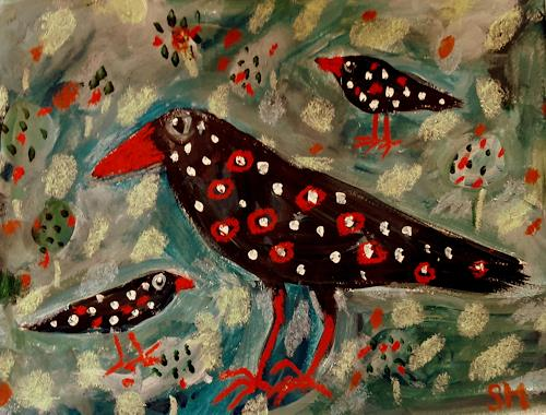 silvia messerli, buntes Kleid...., Animals: Air, Fantasy, Art Brut