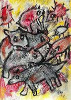 silvia-messerli-Miscellaneous-Animals-Emotions-Joy-Modern-Age-Abstract-Art-Art-Brut