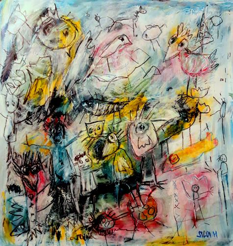 silvia messerli, le cadeau, Miscellaneous Animals, People: Group, Art Brut, Abstract Expressionism