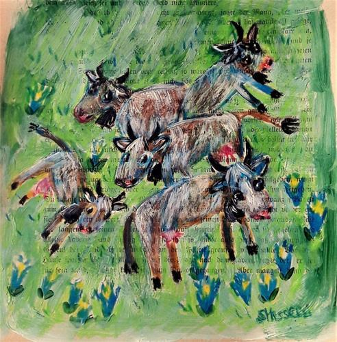 silvia messerli, glückliche Kühe, Animals: Land, Nature: Earth, Art Brut