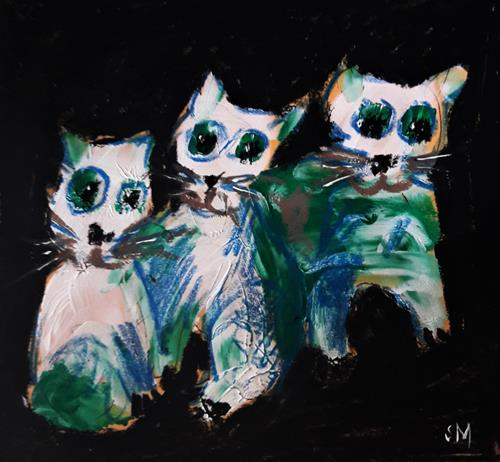 silvia messerli, Trio, Animals: Land, Emotions: Joy, Contemporary Art, Abstract Expressionism