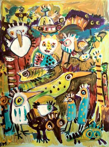 silvia messerli, jenseits ist es auch bunt .., Miscellaneous Emotions, Fantasy, Art Brut