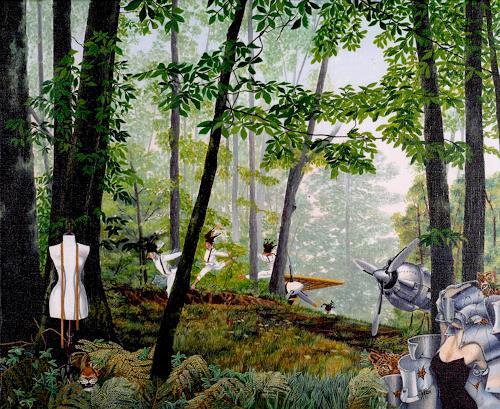 dominique hoffer, FLEURS DE KEROSENE, Fantasy, Contemporary Art