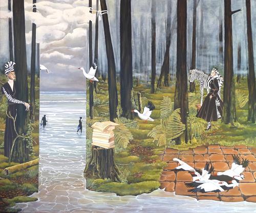 dominique hoffer, IL NEIGERA SUR LE SILENCE DE L'OBSIDIENNE, Fantasy, Contemporary Art, Expressionism