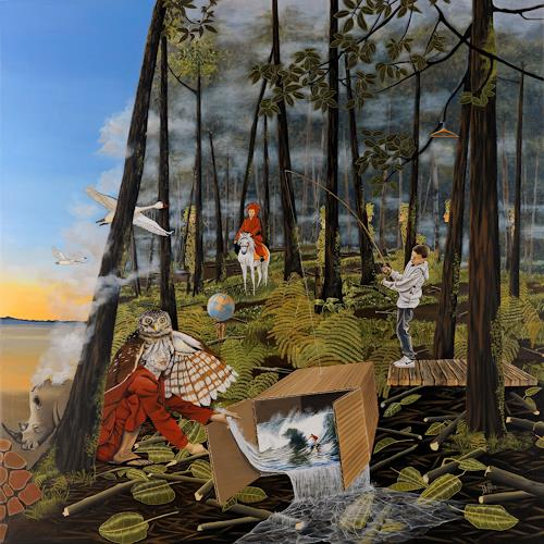 dominique hoffer, Le Chant de l'Alouette, Fantasy, Contemporary Art, Abstract Expressionism