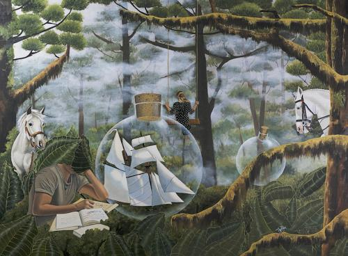 dominique hoffer, La Rentrée des Classes, Fantasy, Contemporary Art, Abstract Expressionism
