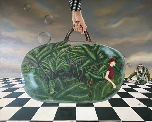dominique hoffer, Embarquement porte 2022, Fantasy, Contemporary Art, Abstract Expressionism