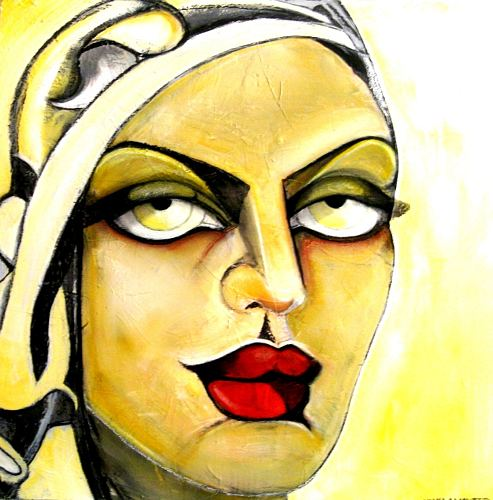 Luana Sacchetti, Persian beauty with yellow headscarf, Erotic motifs: Female nudes, Art Déco, Abstract Expressionism