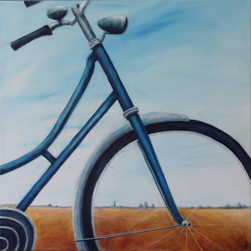 Romy Latscha, met de fiets, Leisure, Traffic: Bicycle, Contemporary Art, Expressionism