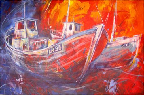 webo, fischerboote, Verkehr: Ship, Realism, Expressionism