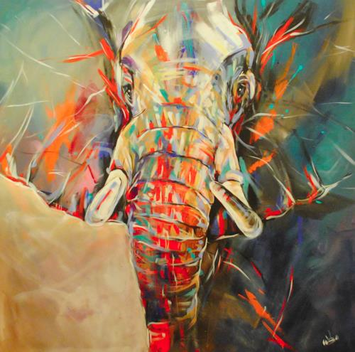 webo, Elefant, Animals: Land, Miscellaneous Animals, Abstract Expressionism