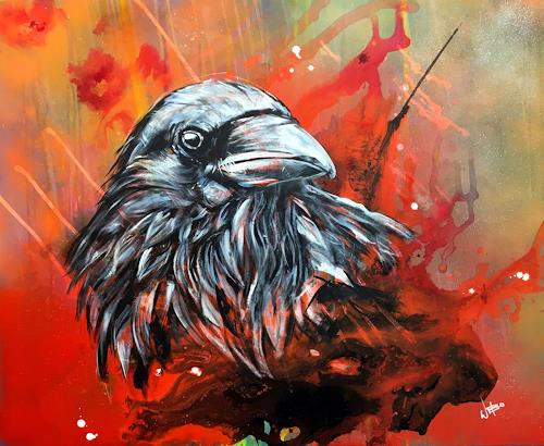 webo, Rabe, Animals: Air, Animals, Abstract Art, Abstract Expressionism