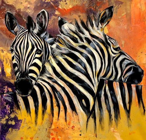webo, Zebras, Animals, Animals: Land, Abstract Art, Expressionism
