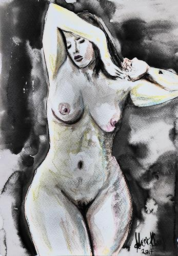 Klaus Ackerer, N/T, Erotic motifs: Female nudes, Abstract Art