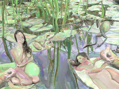 Klaus Ackerer, Im Bad der balzenden Frösche, Nature, Abstract Art