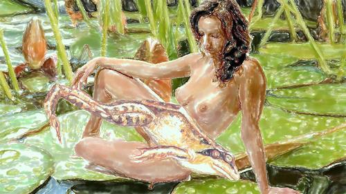 Klaus Ackerer, Der Sprung ins kalte Wasser, Nude/Erotic motifs, Abstract Art