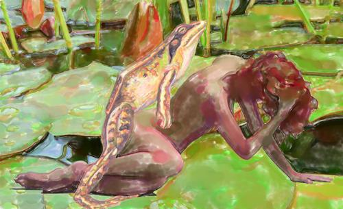 Klaus Ackerer, Die Froschbalz, Nude/Erotic motifs, Abstract Art