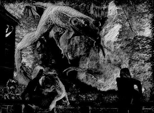 Klaus Ackerer, Waterfall Badgastein dark, Fantasy, Abstract Art