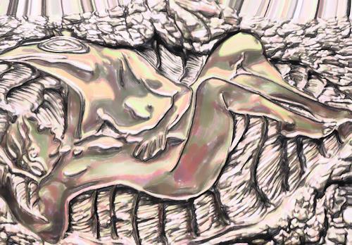Klaus Ackerer, Schwimmen im grossen Teich, Nude/Erotic motifs, Abstract Art