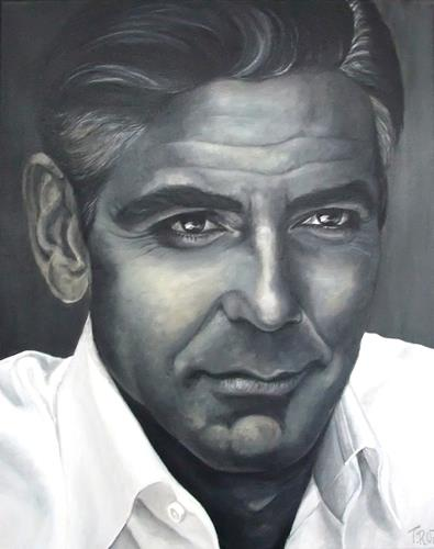 LUR-art/ Therese Lurvink, Portrait Clooney, People: Faces, People: Portraits