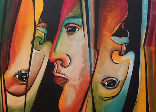 LUR-art/ Therese Lurvink, Hautfarben, Abstract art, People: Faces