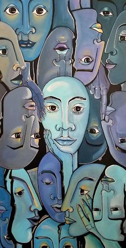 LUR-art/ Therese Lurvink, Das Gerücht II, Abstract art, People: Faces