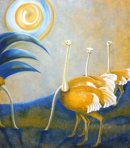 LUR-art/ Therese Lurvink, Safari gelb-blau, Abstract art, Miscellaneous Animals