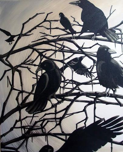 LUR-art/ Therese Lurvink, die Krähen I, Nature: Miscellaneous, Animals: Air
