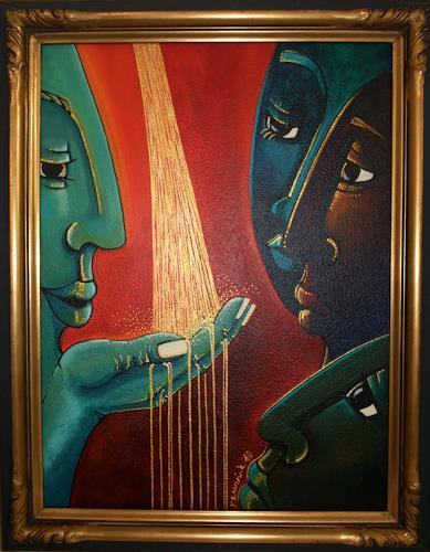 LUR-art/ Therese Lurvink, ... und Gold wurde zu Wasser, Abstract art, People: Group