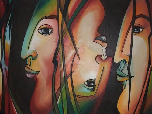 LUR-art/ Therese Lurvink, Hautfarben III, Abstract art, People: Faces, Abstract Art