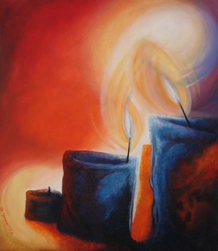 LUR-art/ Therese Lurvink, sich Wärme und Licht schenken..., Abstract art, Emotions: Safety